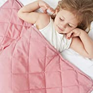 ULTIFIT Weighted Blanket for Kids (5 lbs, 36''x48''), 100% Breathable Natural Cotton, Machine Washable for Easy Care, Toddler Heavy Blanket with Glass Beads for Improved Sleep, Pure Pink
