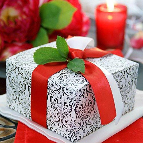 Tableclothsfactory Black/White Flocking 4x4x2 Cake Boxes-100pc Memories Cake Box