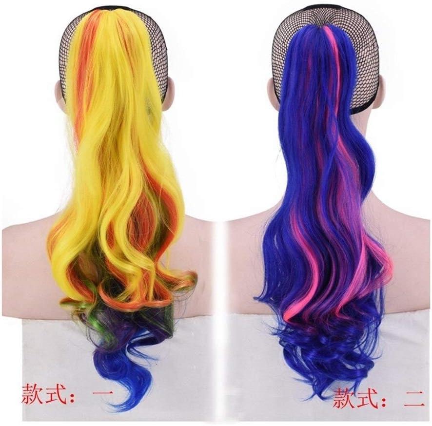 Peluca de cola de caballo Juan Ni Europa y América, colores del arco iris