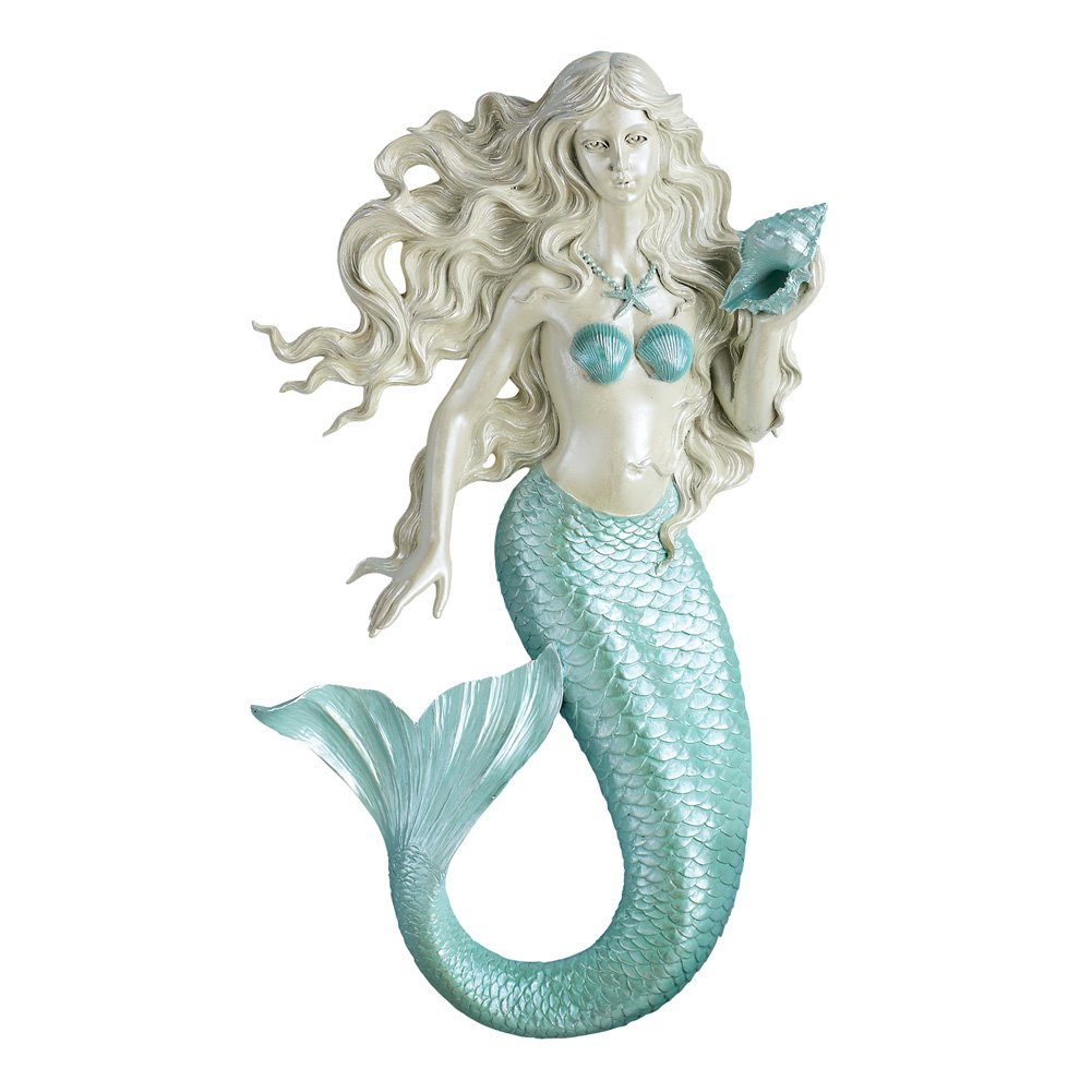 Collections Etc Coastal Home Décor Mermaid with Seashell 3D Sculpted Wall Art