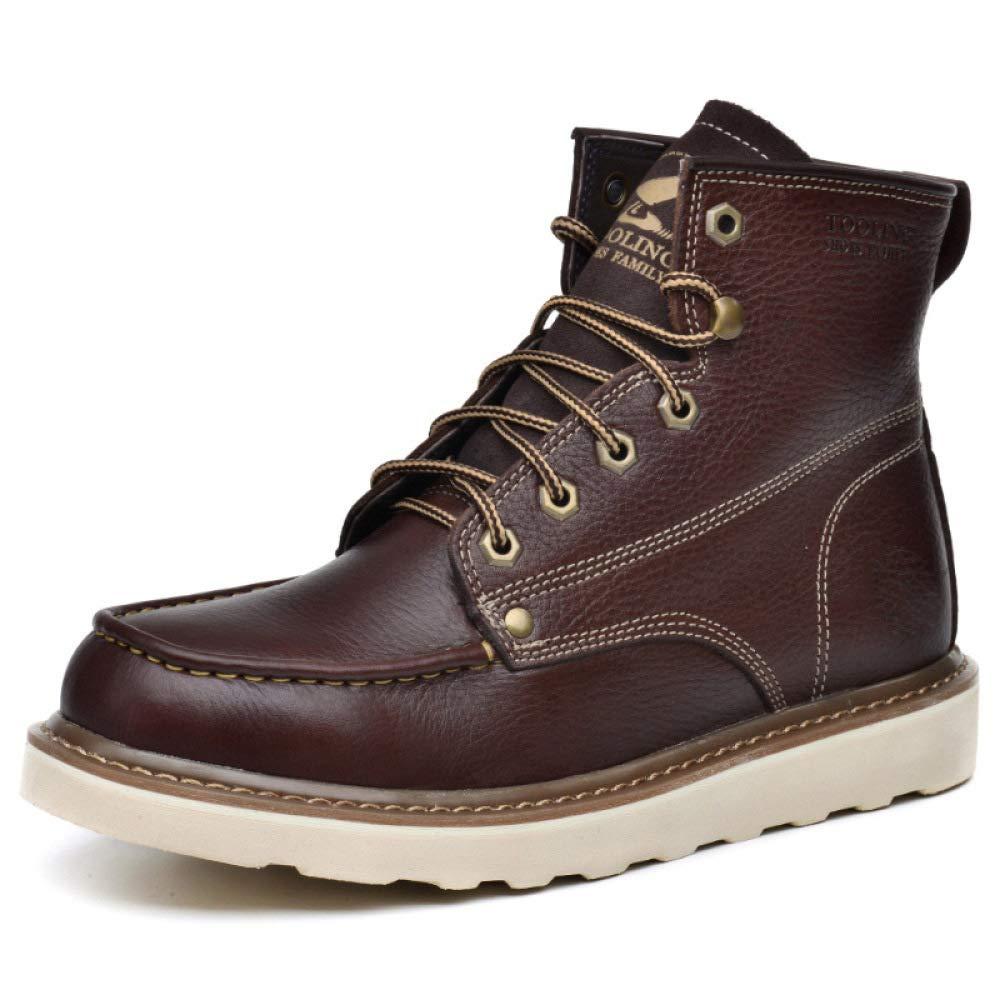 HWG-GAOYZ Schuhe Herren Stiefel Martin Outdoor Rutschfeste Atmungsaktiv Schnee Werkzeug Leder Stiefel Herbst Winter Keep Warm,Dark-braun-38