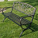 Features:  - Antique style allows it to fit with any backyard or home  - Solid legs provide safe place to sit and relax  - Curved back and seat of great comfort  - Garden vine scrollwork design adds elegance and style  - Seat capacity allows ...