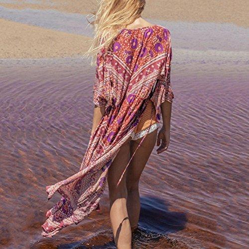 iBaste Bikini Cover up Sección Larga Impresión de Flores Playa Blusa para Mujer