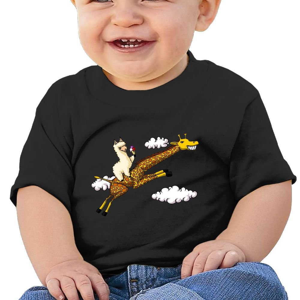 Cute Llama Riding Giraffe Cotton Short Sleeve T Shirts for Baby Toddler Infant