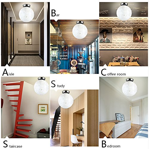 HAIXIANG 7.8 Inch 3D Moon Ceiling Light LED Lamp Resin Fixtures Lighitng Kids Room Bedroom Christmas Gift White Light