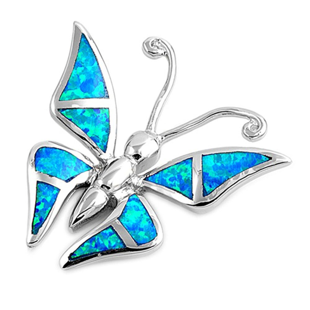 Sterling Silver Abstract Pointed Wing Butterfly Pendant Blue Simulated Opal