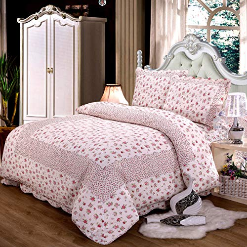 (Caramel Macchiato Quilt Set 3pcs Pink Floral Bedspread 100% Cotton Girls Coverlet Set, Queen Size)