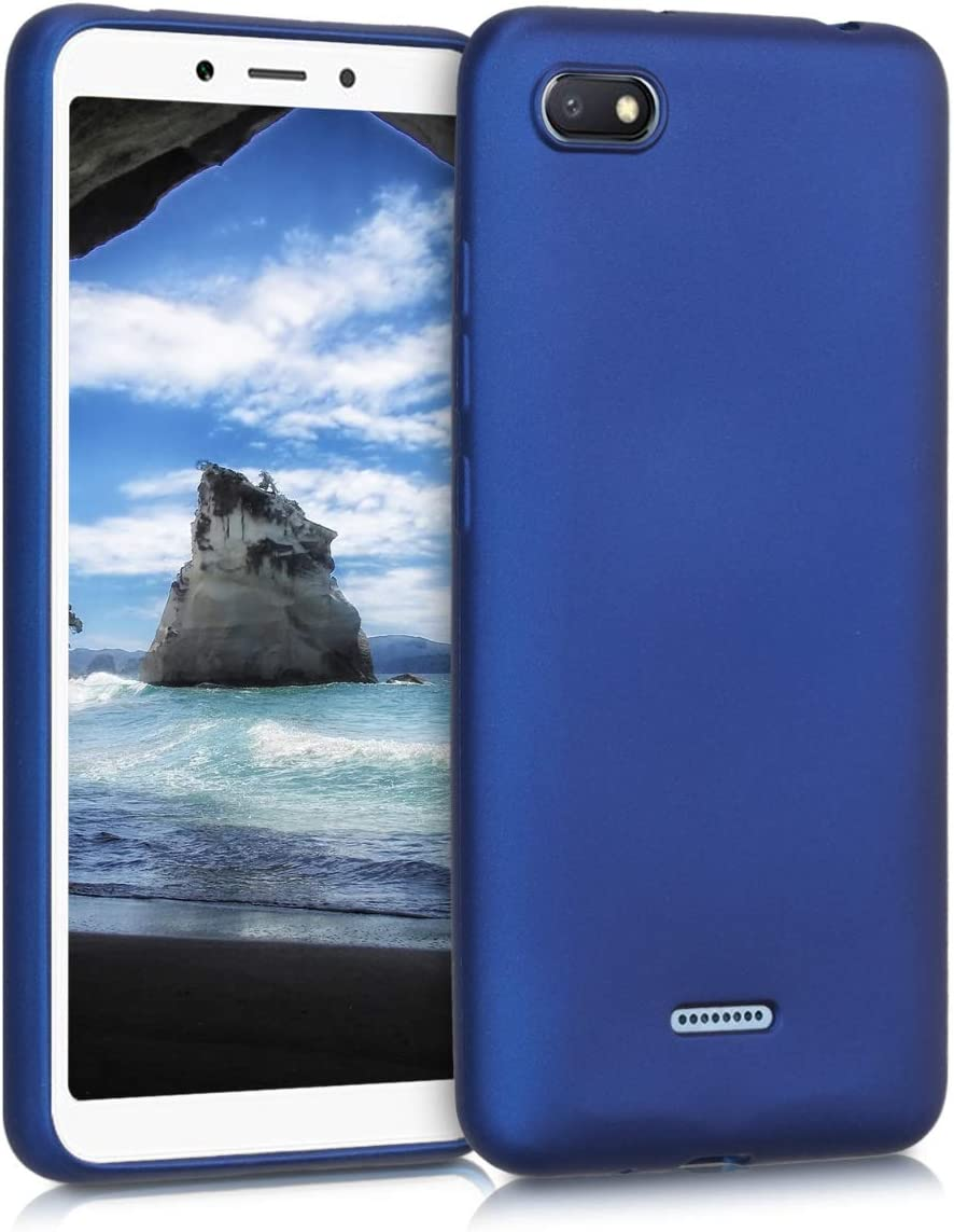 kwmobile Funda Compatible con Xiaomi Redmi 6A - Carcasa móvil de Silicona - Protector Trasero en Azul Metalizado