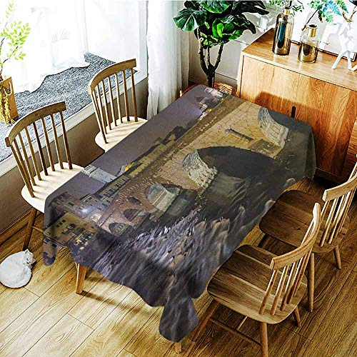 Table Clear Verona (XXANS Washable Tablecloth,Landscape,Ponte Pietra on River Adige Ancient Roman Bridge in The Old Town of Verona Italy,Table Cover for Dining,W60x120L Black Beige)