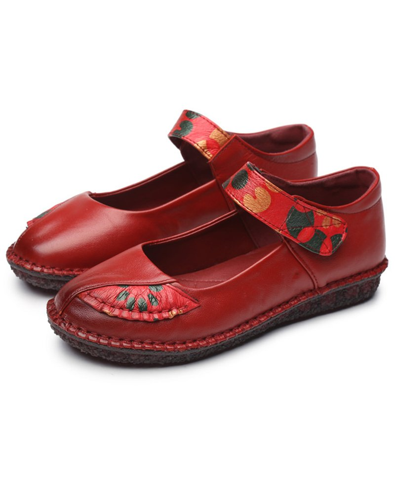 Women's Real Leather Comfort Casual Round Toe Mary Jane Flat Shoes B07CH3PRDT 8.5 B(M) US|Red