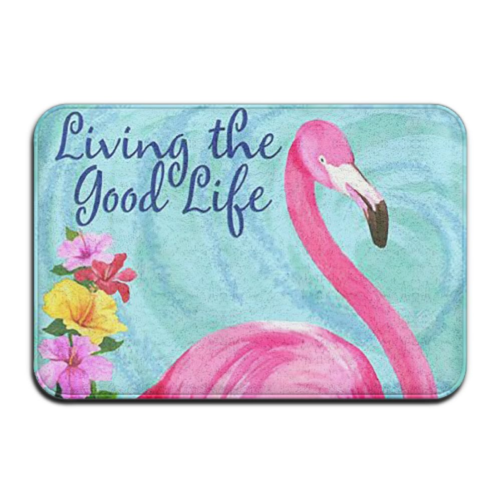 BINGO BAG Living The Good Life Flamingo Indoor Outdoor Entrance Printed Rug Floor Mats Shoe Scraper Doormat For Bathroom, Kitchen, Balcony, Etc 16 X 24 Inch