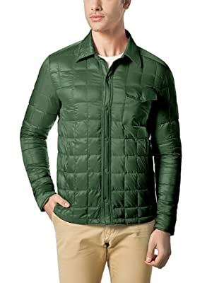 XPOSURZONE Men Packable Down Quilted Shirt Lightweight Puffer Jacket