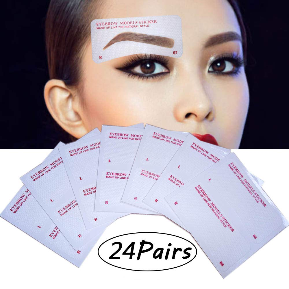 EBANKU 24 Pairs Eyebrow Stencils, 24 Styles Non-Woven Eyebrow Shaping Stencils