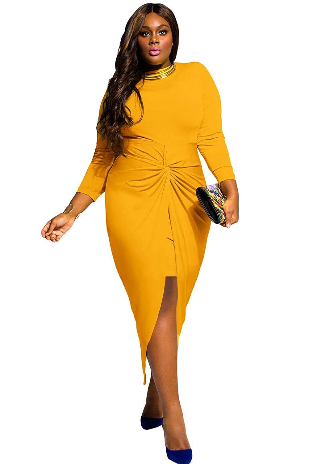 O&W Women Mustard Knotted Slit Long Sleeve Plus Dress at Amazon Womens Clothing store: