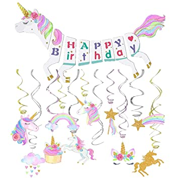 Amazon.com: Unicornio Decoración de fiesta – Unicornio Feliz ...