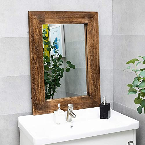 ANTJUMPER Natural Wood Hanging Mirror for Bathroom, Rustic Style Wood Frame Mirror, Vertical or Horizontal Hanging, Perfect for Entryway, Living Room, Wall Decor 24 x 32