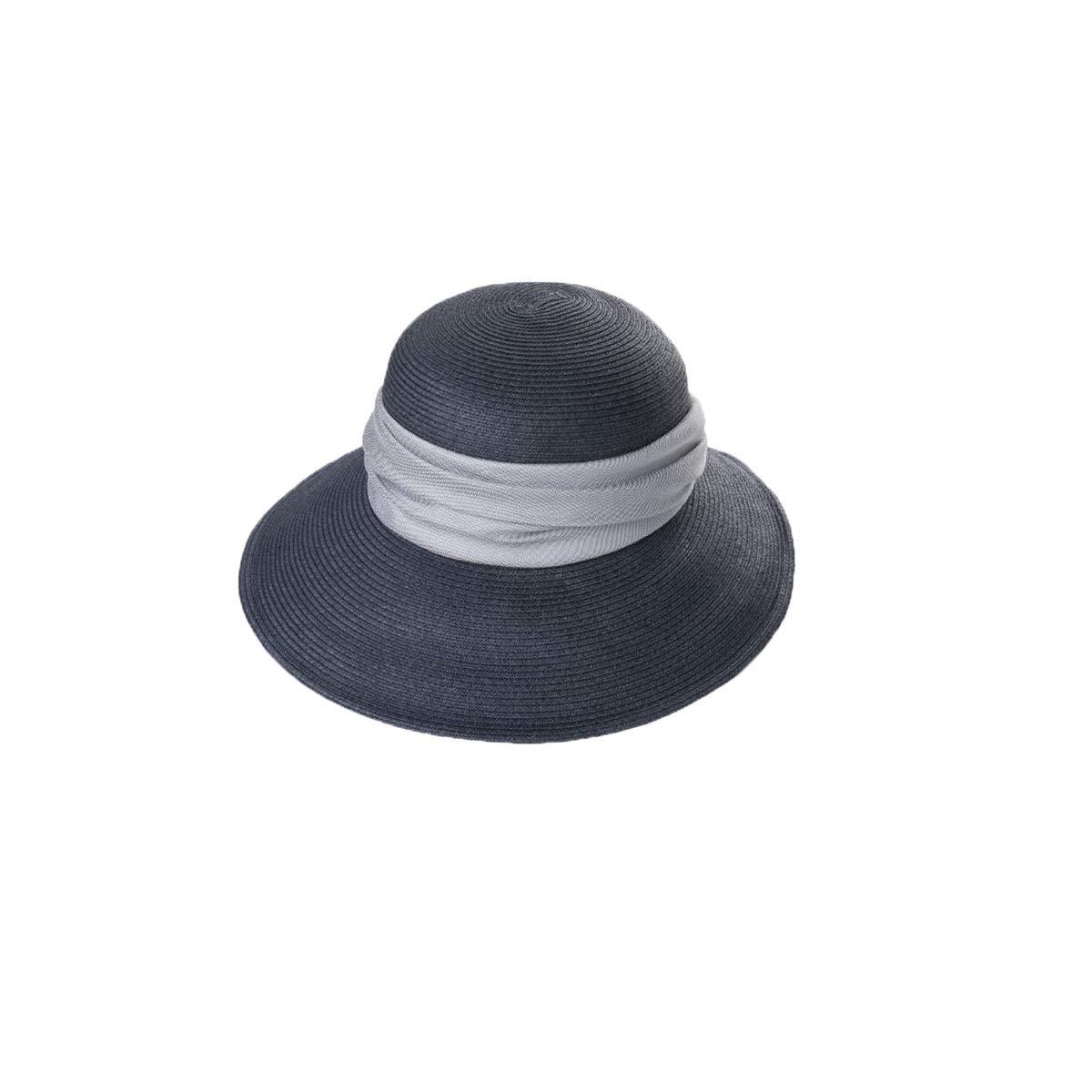 Zhongyue Hat Female Summer Straw Hat Wild Hat Visor Foldable Big Sunscreen Travel Beach Sun Hat, Beige, Dark Blue Summer hat (Color : Dark Blue)