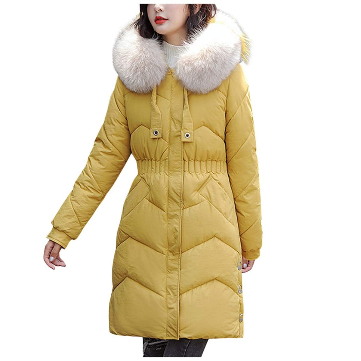 Thenxin Women's Winter Jacket Mid Lenght Warm Parka Puffer Coats with Faux Fur Hoodie(Yellow,XXXL) by Thenxin