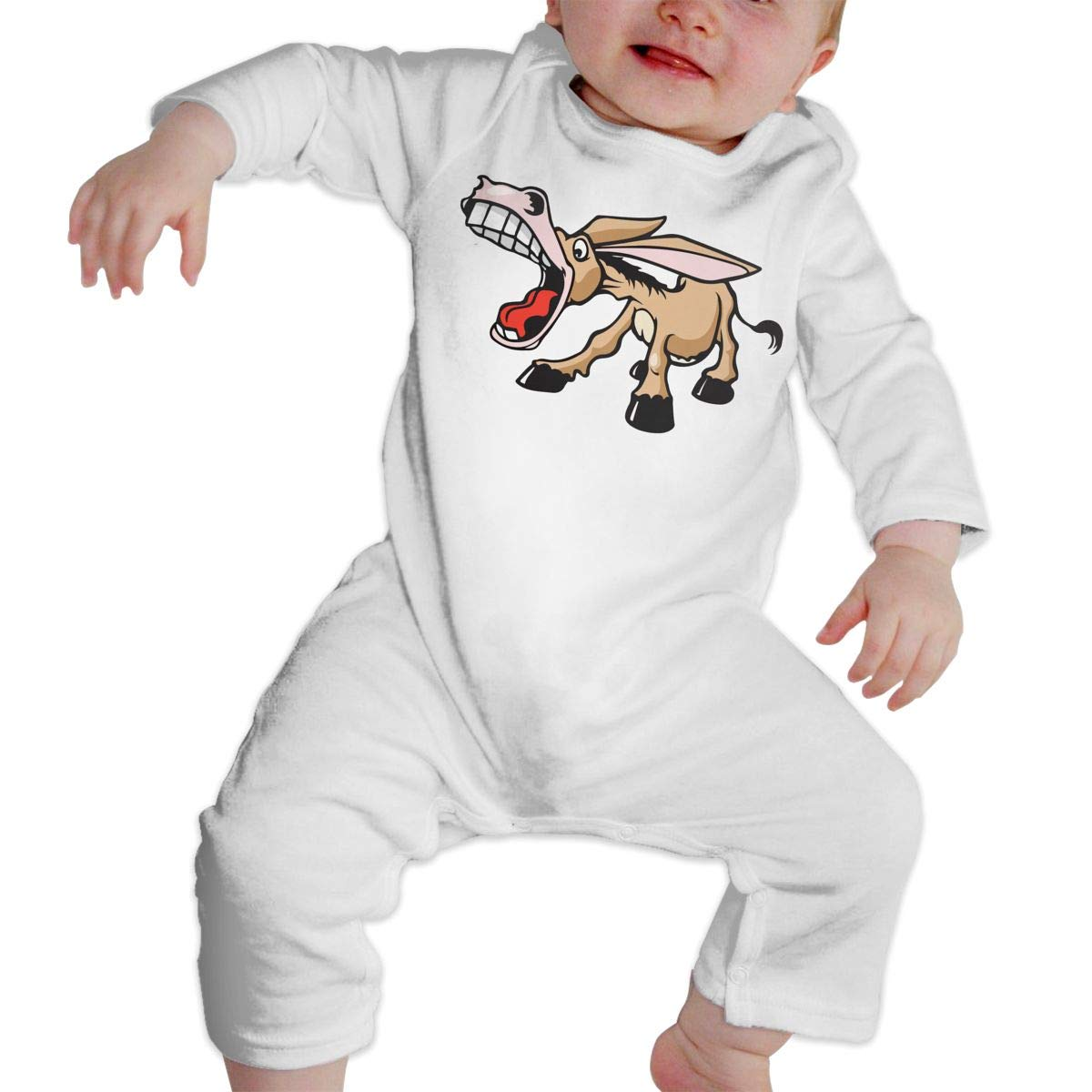 A1BY-5US Baby Infant Toddler Cotton Long Sleeve Braying Donkey Climb Jumpsuit Funny Printed Romper Clothes