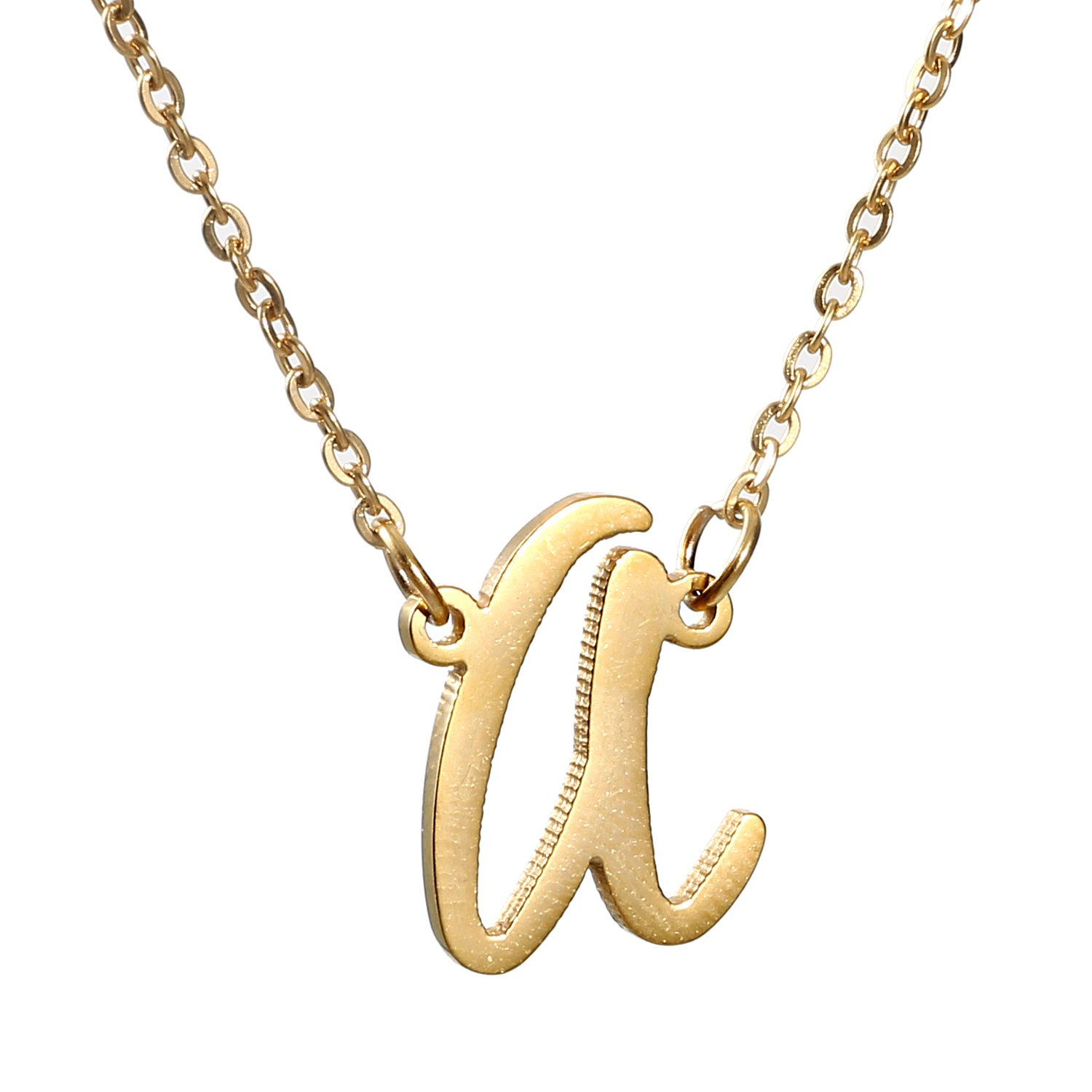 AOLO Initial Necklace 26 Letters from A-Z Stainless Steel Silver and Gold Color Jewellerygets WNL-2457 A Gold