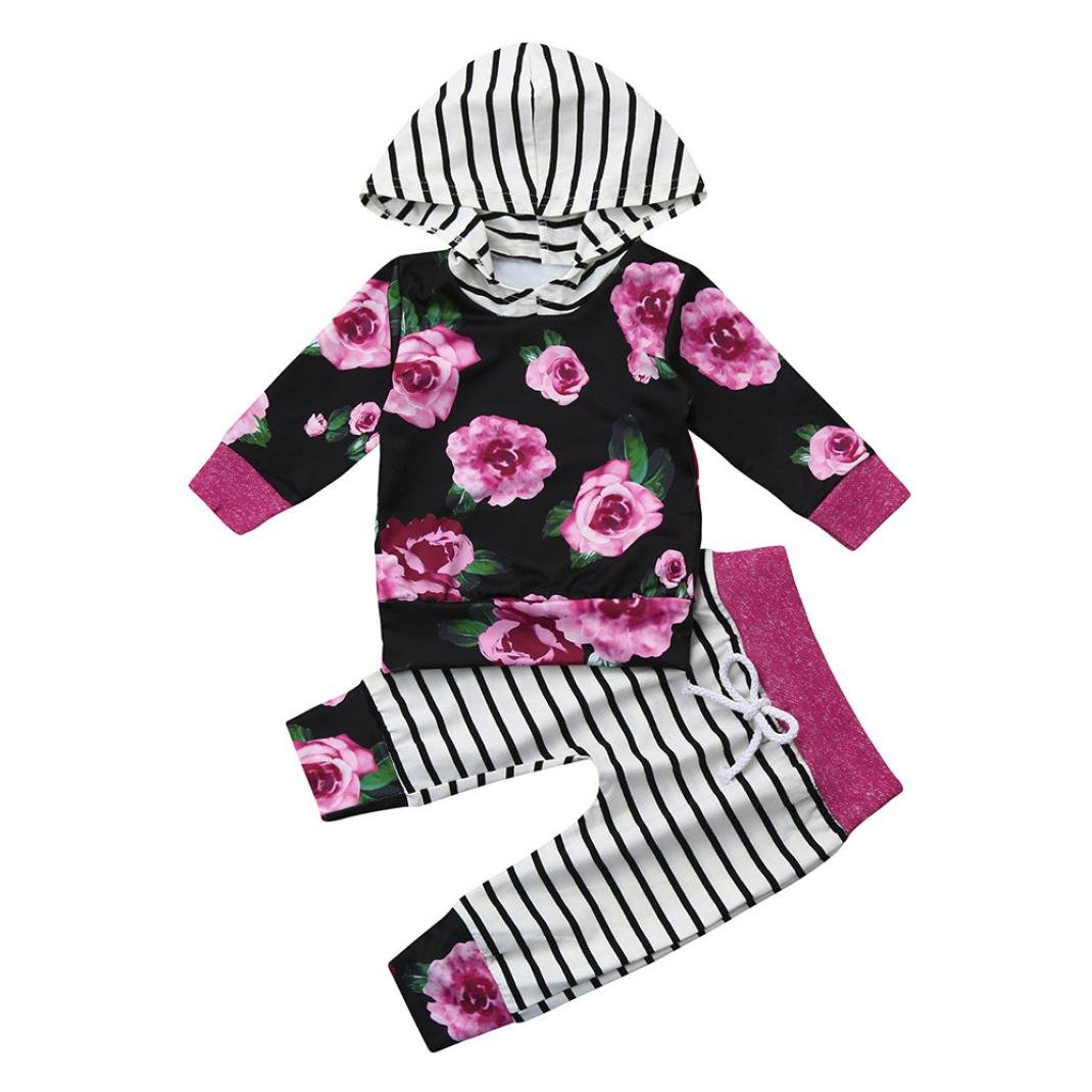LNGRY 2pcs Toddler Baby Boy Girl Clothes Floral Print Hoodie Tops+Pants Outfits (18-24 Months, Black)