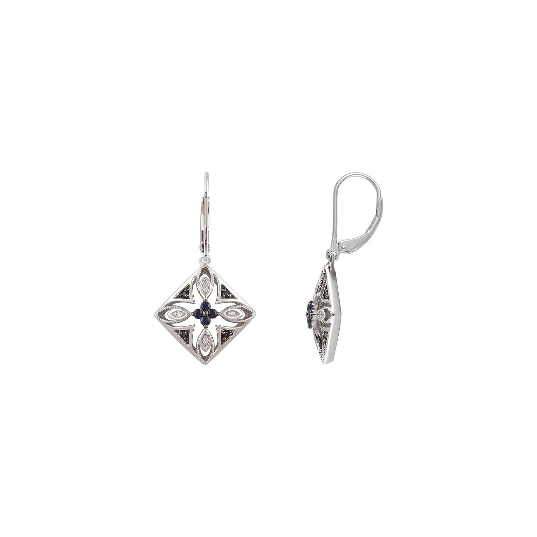 Amazon Sterling Silver Blue Sapphire & 04 CTW Diamond Filigree