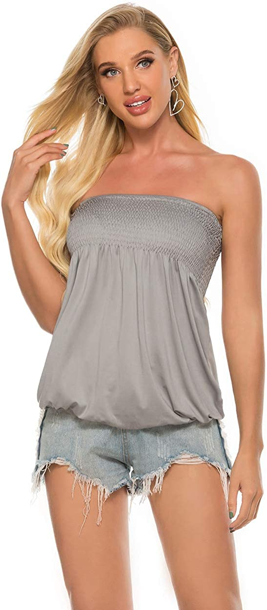 Womens Holiday Strapless Pleated Tube Top Shirt Halter Twisted Tank Top Blouse