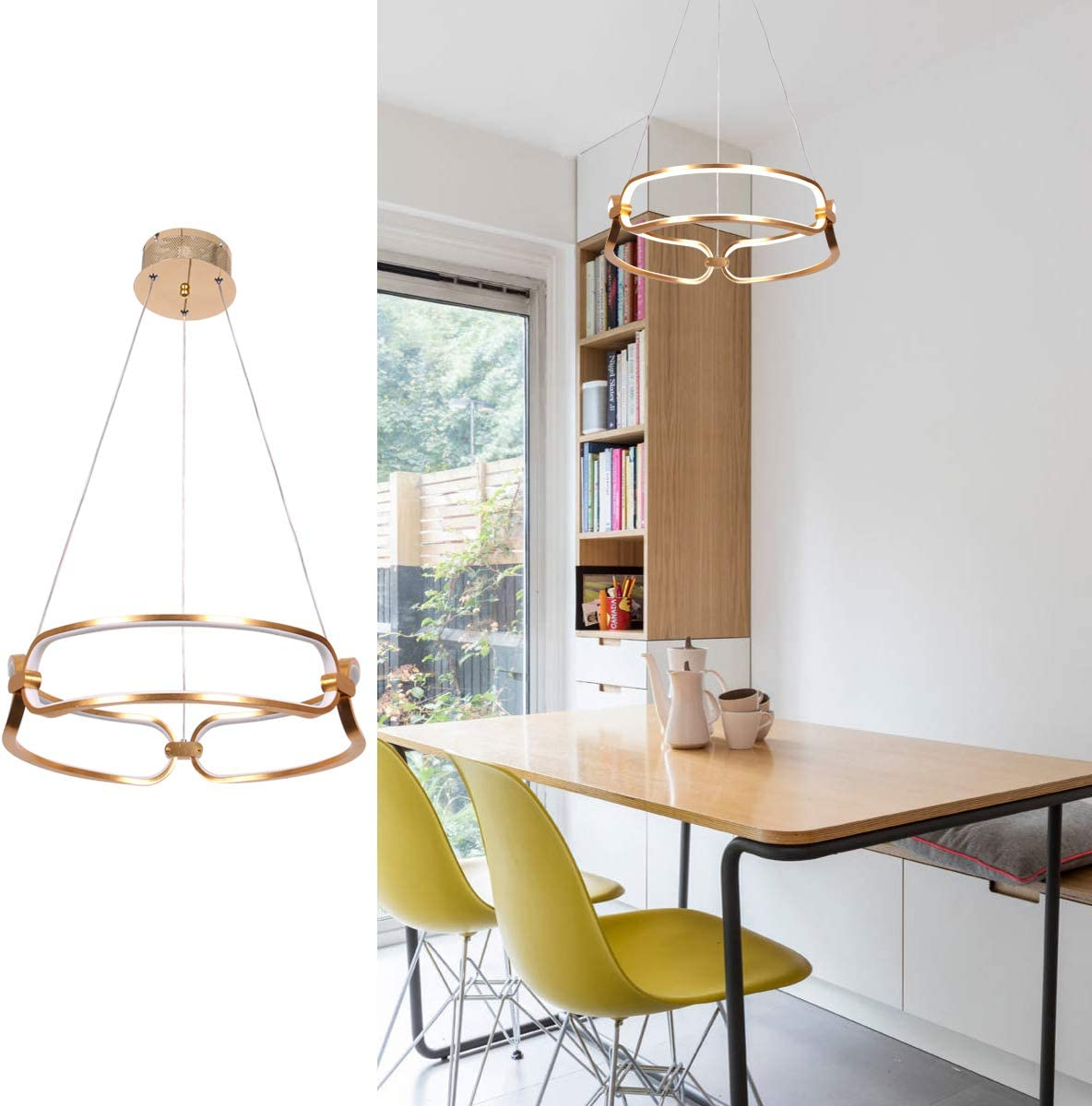 Modern LED Ceiling Light, CHYING 2-Ring 40W Pendant Light Adjustable Chandelier Light Fixtures Ceiling for Living Room Bedroom Dining Room Hotel Cool White 6000K