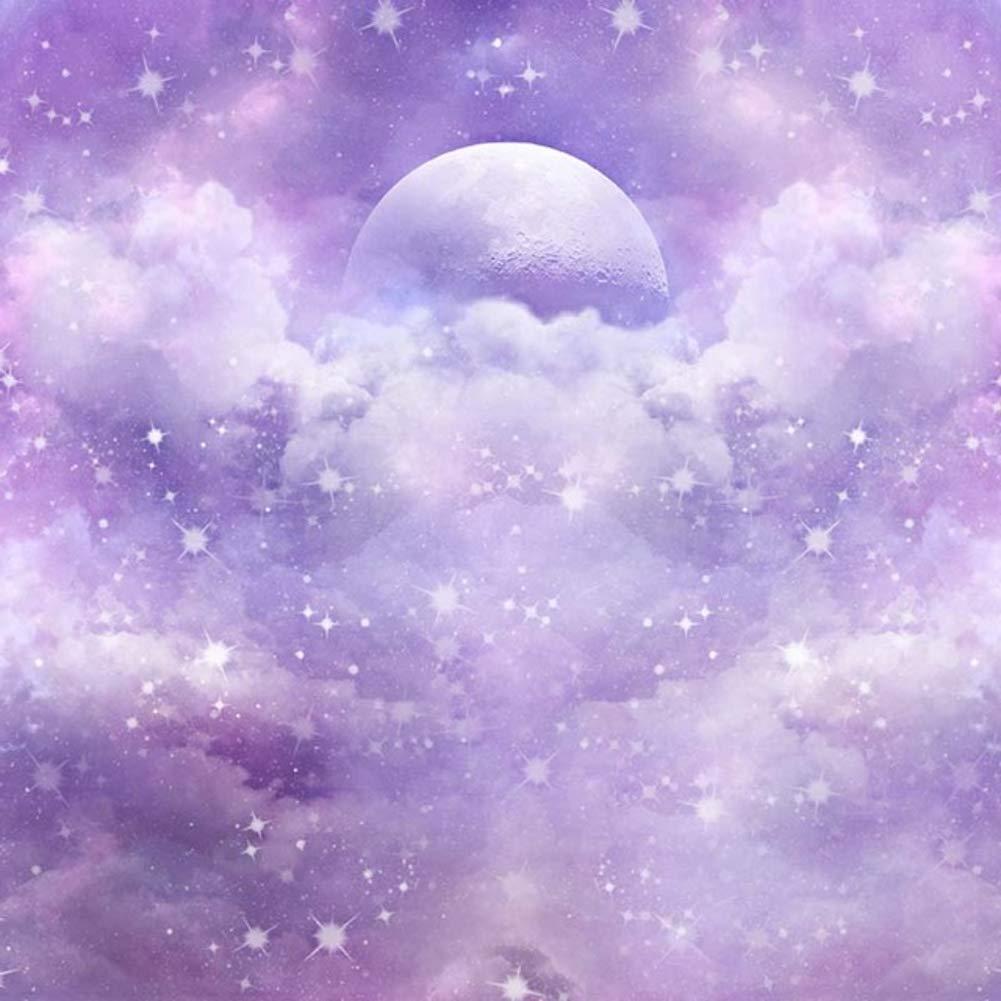 10x10フィート 抽象 パープル ピンク 雲 写真 背景 月 星 ロマンチック 水彩 空 背景 写真スタジオ用   B07KT7RM42