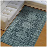 Cheap Superior Tatum Collection Area Rug, 10mm Pile Height with Jute Backing, Fashionable and Affordable Rugs, Vintage Oriental Kazak Rug Design – 5′ x 8′ Rug, Blue and Grey