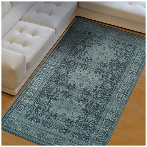 Kazak Carpet (Superior Tatum Collection Area Rug, 10mm Pile Height with Jute Backing, Fashionable and Affordable Rugs, Vintage Oriental Kazak Rug Design - 8' x 10' Rug, Blue and Grey)