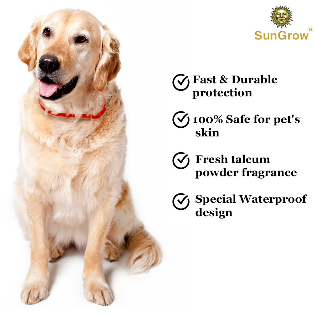 SunGrow Flea and Tick Collar = 3 Months of protection: Special Waterproof design + Made with Natural Essential Oils + Non-Greasy & Odorless + Suitable for Large Dogs