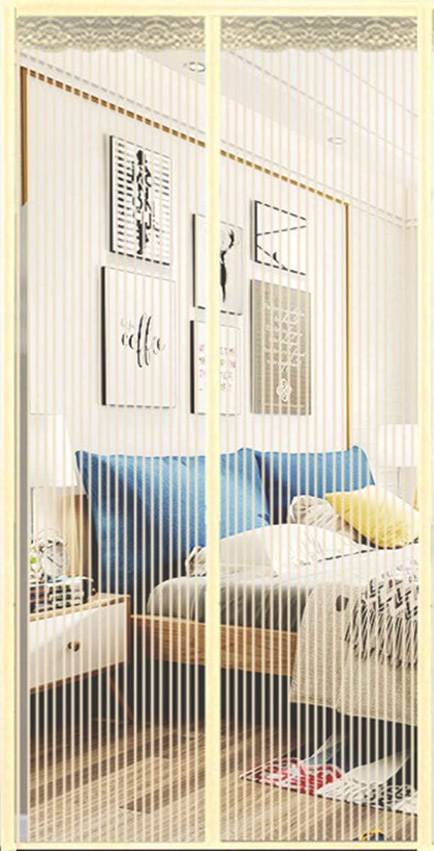 BN Cortina de Puerta automática, Puerta mosquitera automática, para Puertas, Patio, Puerta de Entrada Interior, pasillos, (90 * 210 cm) Beige