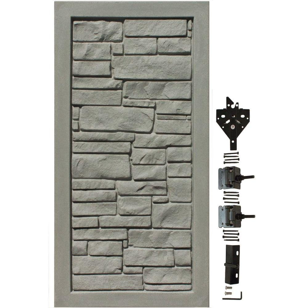 SimTek EcoStone 3 ft. W x 6 ft. H Gray Composite Privacy Fence Gate