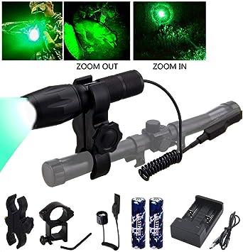 Tactical Green LED Hunting Predator Varmint Flashlight Picatinny Gun//Rifle Mount