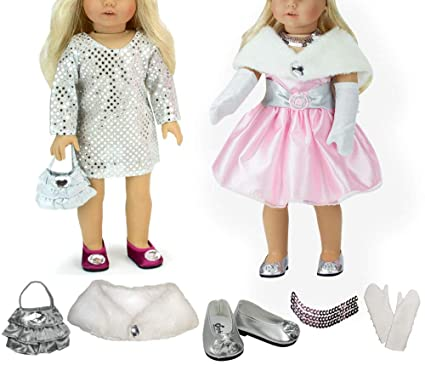 3bc3f9efc3b8e Dressy Pink and Silver 18 Inch Doll Set with Two Dresses, Fur Store, Dress  Shoes and Acessories