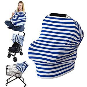 LOAZRE Nursing Cover Breastfeeding Cover Baby Car Seat Covers for Girls and Boys, Blue