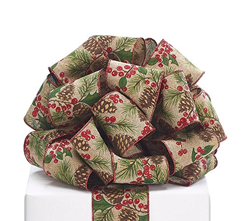 - Homelux 2.5 Inch Wide #40 Pine Cone/Berry Lined Wired Ribbon Christmas Decoration, 20 Yards (18.29m) Roll