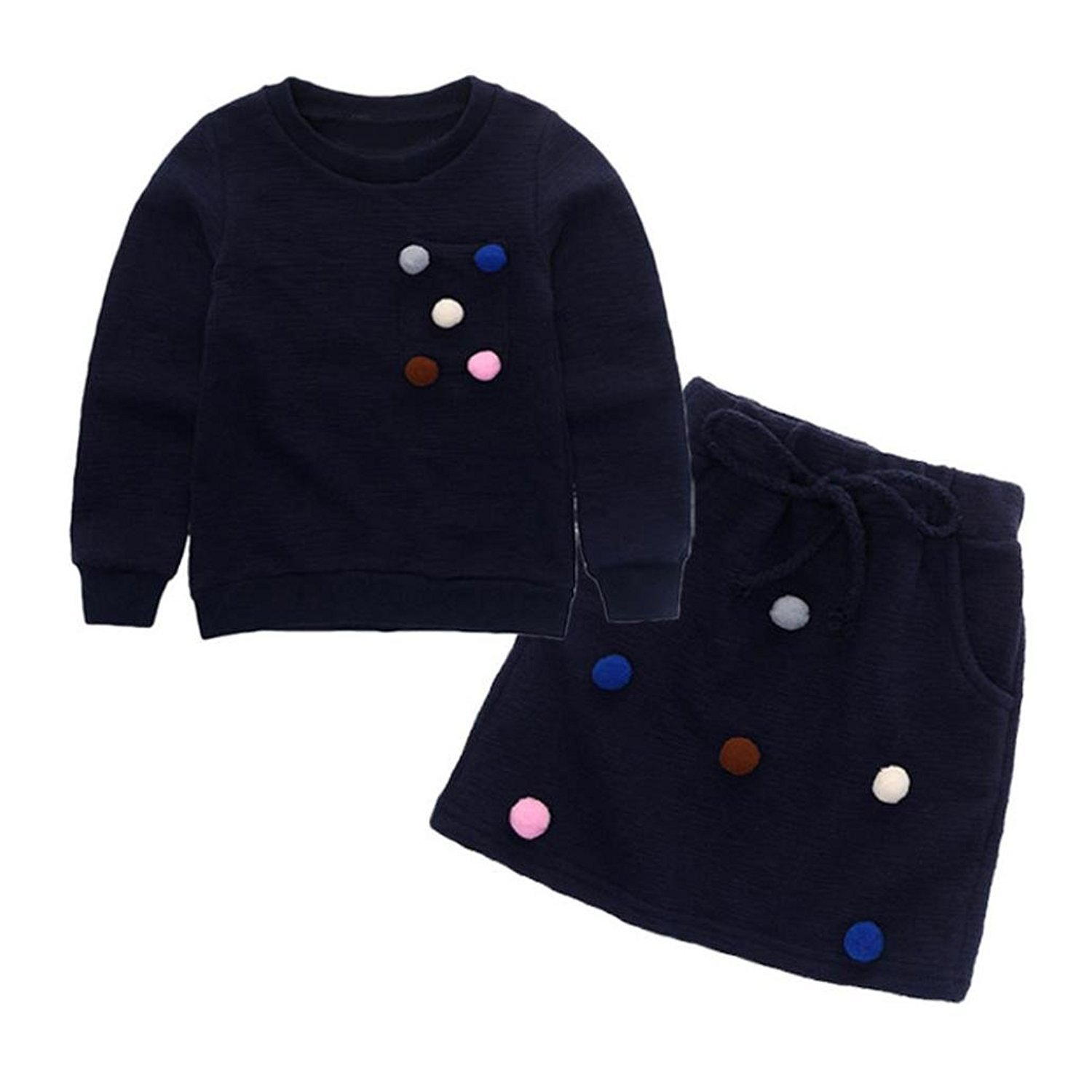 Webla Toddler Kids Girl Small Pom Pom Pullover Sweatshirt +Skirt Clothes Set For 2-7 Years Old