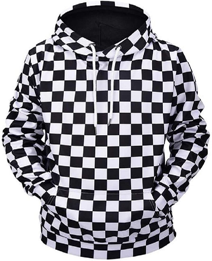 Cromoncent Mens Checkerboard Loose Fit Autumn Hooded Pullover Sweatshirts