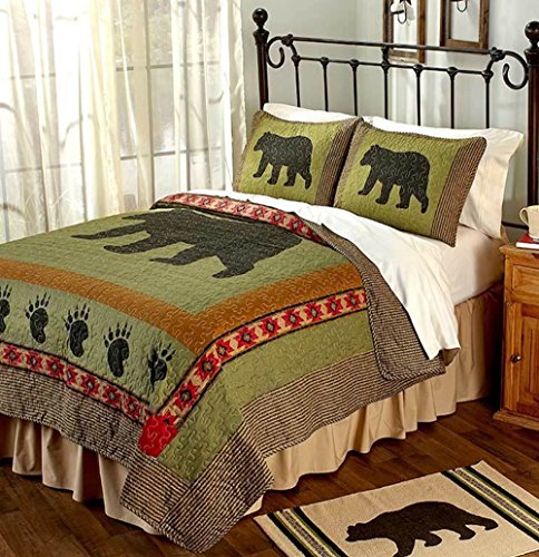 3pc KING Size Rustic Cabin/Lodge Bear Paw Quilt Set (105