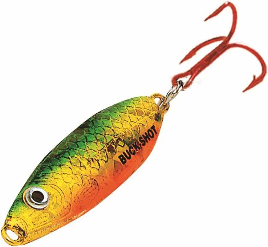 Green Perch 1//4 oz NEW! Northland Tackle UV Buck Shot Rattle Ice Fishing Spoon