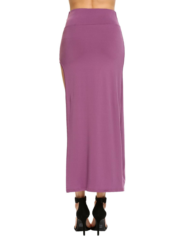 40c591b363e Women s Maxi Long Slit Skirt Elastic High Waist Full Length Flowy Split  Skirts