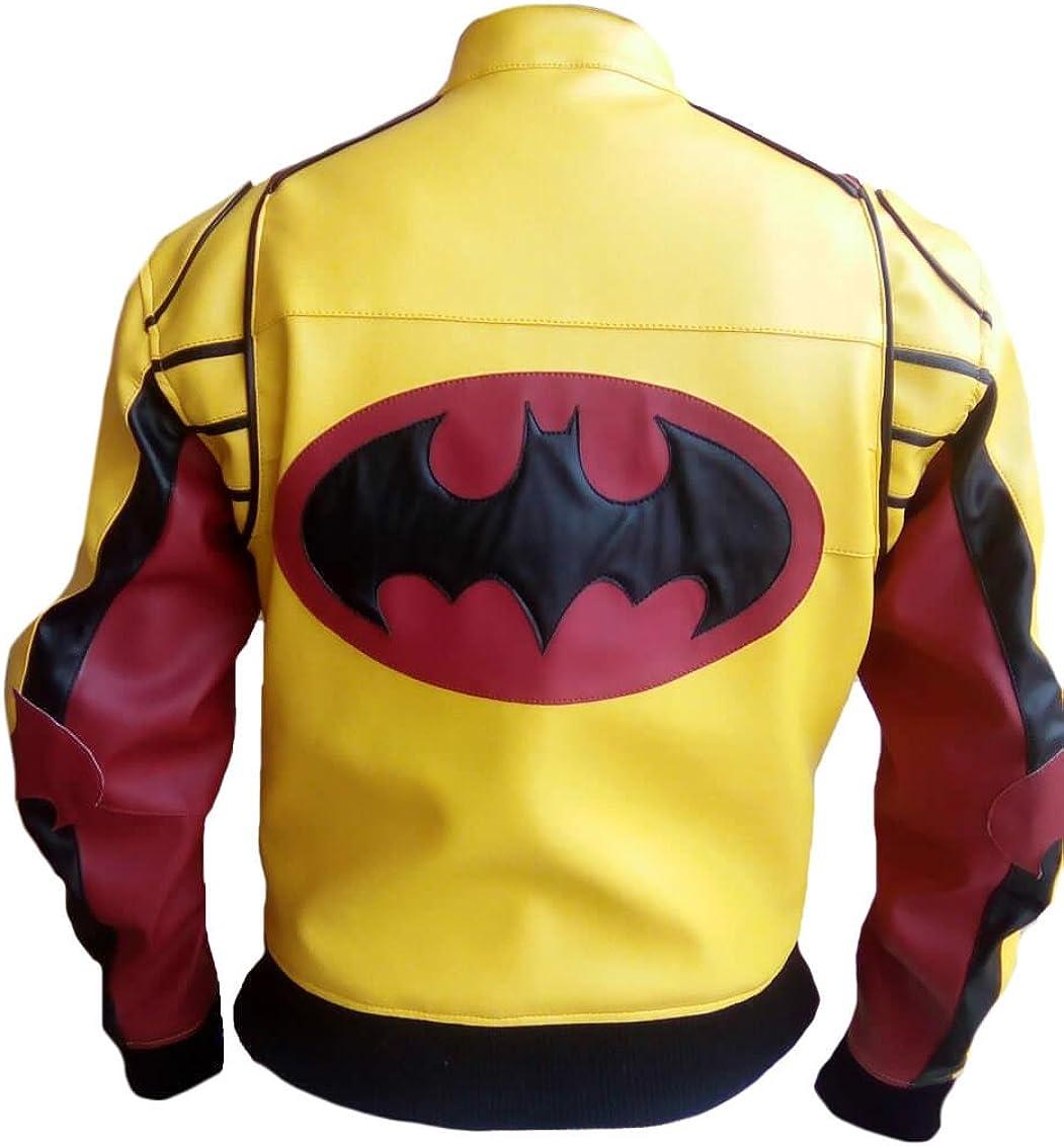 SleekHides Mens Fashion Yellow n Red Bomber Style Leather Jacket with Bat Design