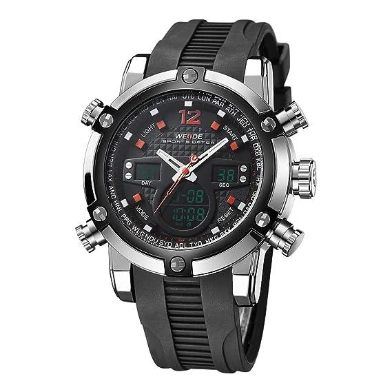 WEIDE hombres del deporte resistente al agua silicona cuarzo relojes deportivos: Amazon.es: Relojes