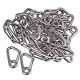 Yibuy 50Set 304 Stainless Steel Spring Hook Casting for Chain Rope Connection Silver
