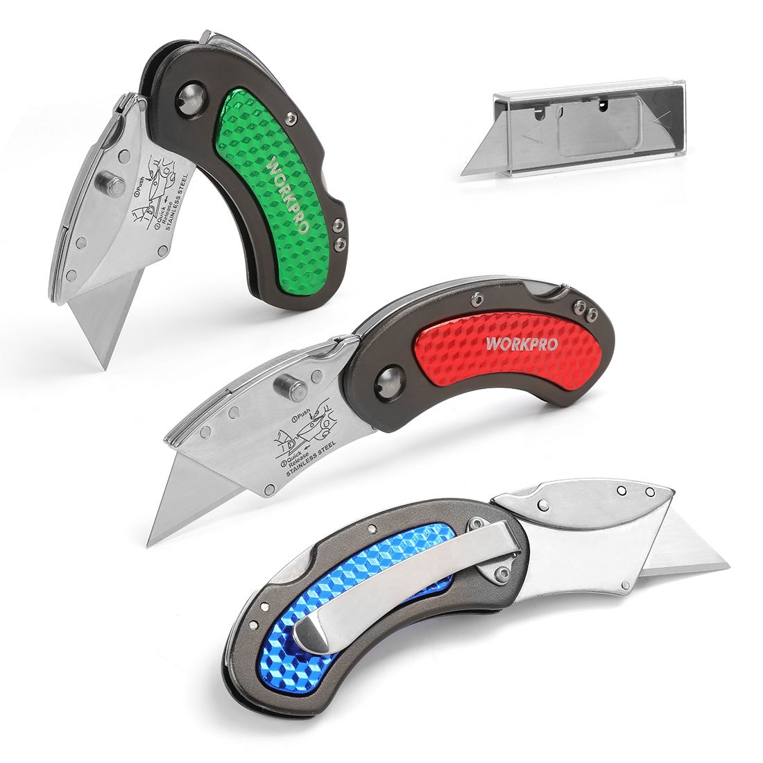 WORKPRO Folding Utility Knife Set Quick Change Blade, Back-Lock Mechanism 3-Piece with 10-Piece Extra Blades by WORKPRO