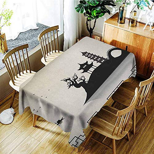 XXANS Fashions Rectangular Table Cloth,Ancient China,Dreary Sketch House on Hill Pagoda Pavilion Bridge Dried Trees Fisherman,High-end Durable Creative Home,W52x70L Black Beige