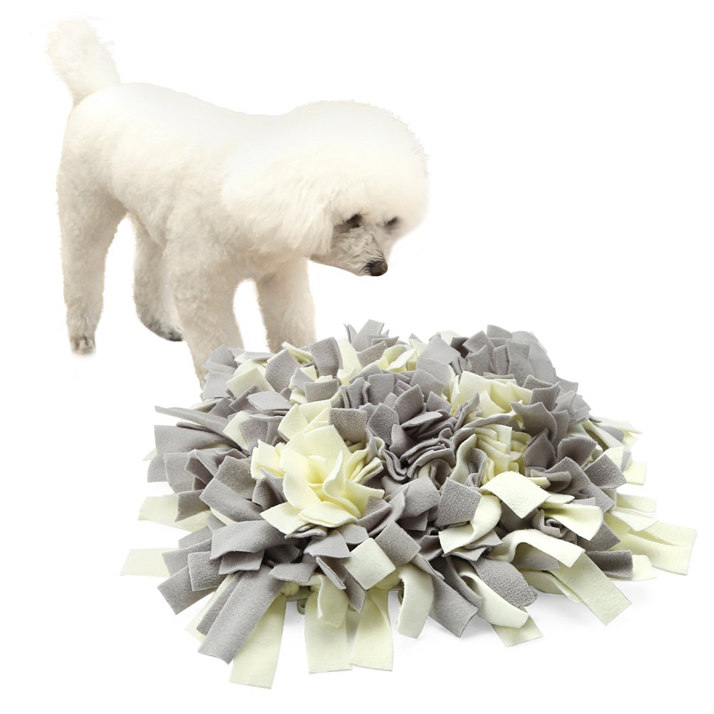 Pidsen Dog Snuffle Mat Training Feeding Mat Play Mat Relieve Stress Restlessness 17''x17'' (Gray&White)