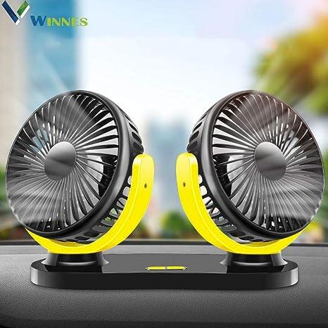 Winnes Mini Ventilateur de Voiture 12 V 24 V Double tête rotative à 360 degrésOption avec Ventilateur USB 3 Vitesses pour Voiture, camionnette,